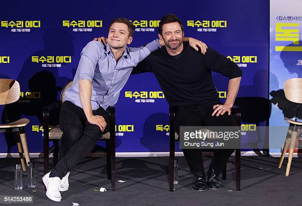 Actors Taron Egerton and Hugh Jackman attend the 'Eddie The Eagle' Meet The Audience on March 8 2016 in Seoul South Korea Hugh Jackman and Taron...