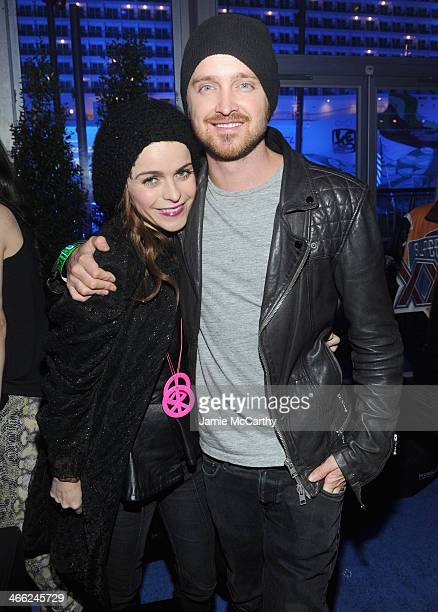 Actors Taryn Manning and Aaron Paul attend The Playboy Party at The Bud Light Hotel Lounge on Friday January 31 2014 in New York City