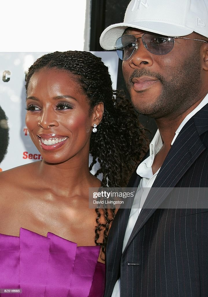 Actors Tasha Smith (L) and Tyler Perry attend the world premiere of The Weinstein Company's 'The Longshots' at the Majestic Crest Theatre on August 20, 2008 in Westwood, California.