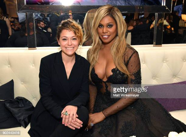Actors Tatiana Maslany and Laverne Cox attend the 2018 InStyle and Warner Bros 75th Annual Golden Globe Awards PostParty at The Beverly Hilton Hotel...
