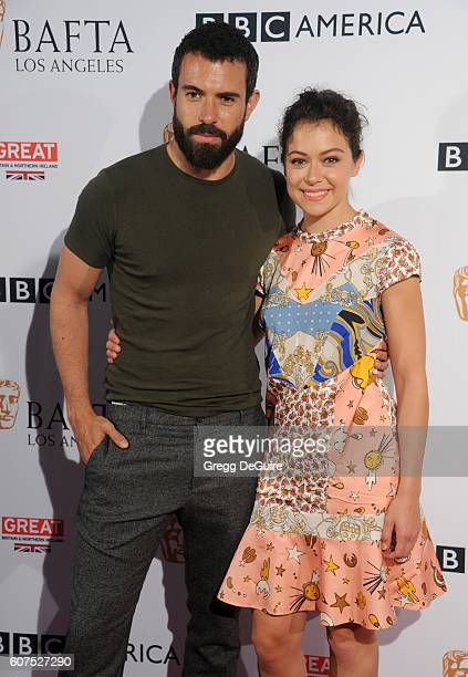 Actors Tatiana Maslany and Tom Cullen arrive at the BBC America BAFTA Los Angeles TV Tea Party at The London Hotel on September 17 2016 in West...