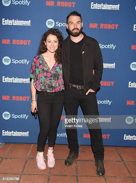 Actors Tatiana Maslany and Tom Cullen attend a dinner hosted by Entertainment Weekly celebrating Mr Robot at the Spotify House in Austin TX during...