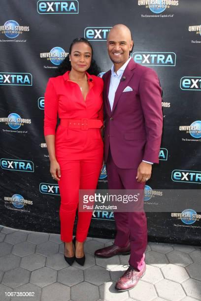 Actors Tatyana Ali and Dondre Whitfield visits Extra at Universal Studios Hollywood on November 13 2018 in Universal City California