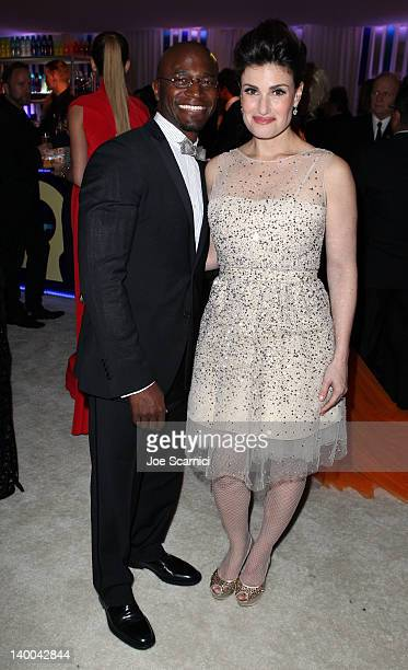Actors Taye Diggs and Idina Menzel attend Neuro Drinks at 20th Annual Elton John AIDS Foundation Academy Awards Viewing Party at The City of West...