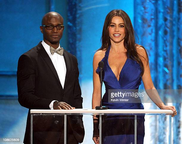 Actors Taye Diggs and Sofia Vergara speak onstage during the 17th Annual Screen Actors Guild Awards held at The Shrine Auditorium on January 30 2011...
