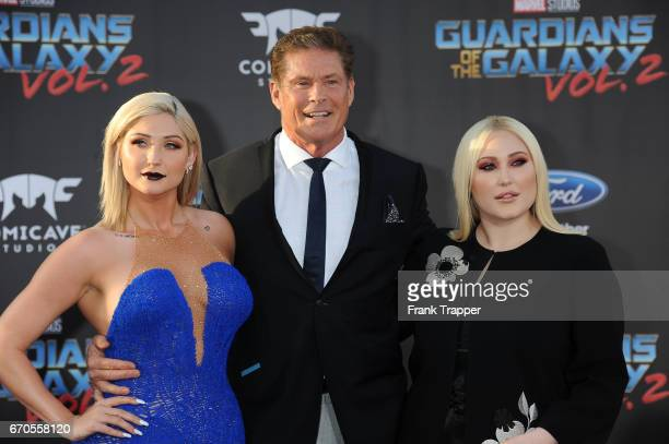Actors Taylor Ann Hasselhoff David Hasselhoff and Hayley Hasselhoff attend the premiere of Disney and Marvel's Guardians Of The Galaxy Vol 2 at the...
