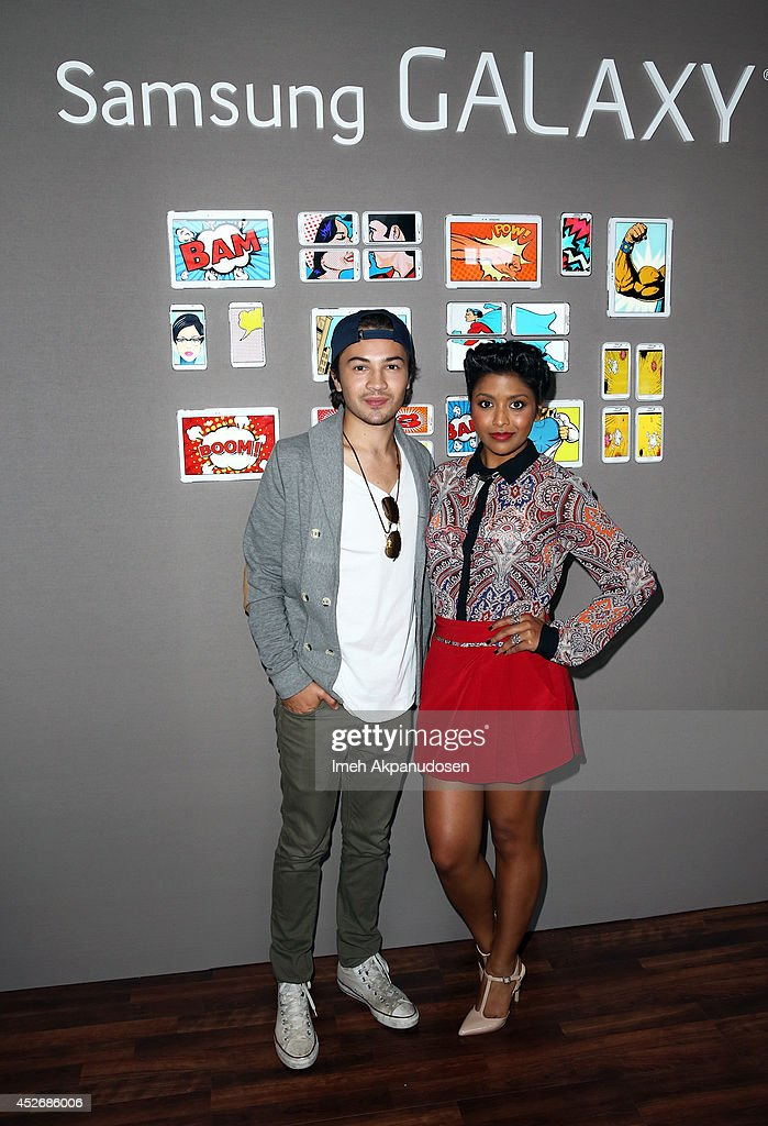 Actors Taylor Gray (L) and Tiya Sircar attend the Samsung Galaxy VIP Lounge at Comic-Con International 2014 at Hard Rock Hotel San Diego on July 25, 2014 in San Diego, California.