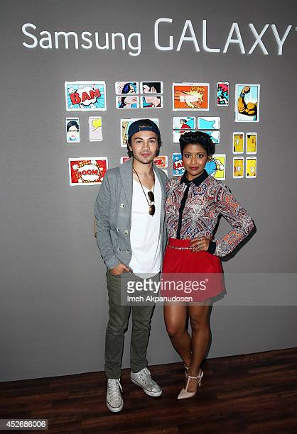Actors Taylor Gray and Tiya Sircar attend the Samsung Galaxy VIP Lounge at ComicCon International 2014 at Hard Rock Hotel San Diego on July 25 2014...
