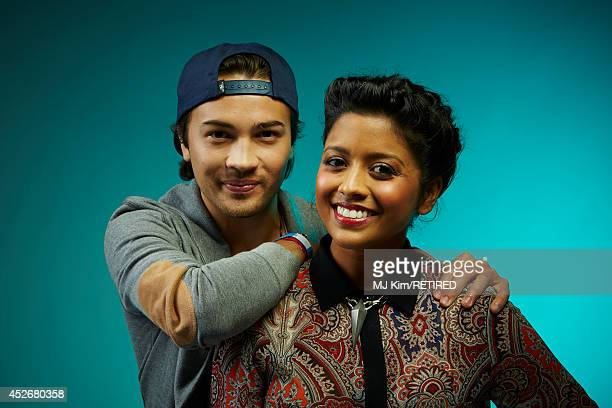 Actors Taylor Gray and Tiya Sircar pose for a portrait at the Getty Images Portrait Studio powered by Samsung Galaxy at Comic-Con International 2014...