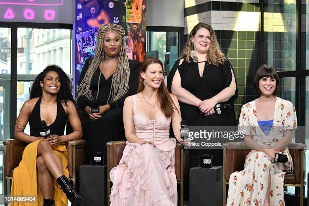 Actors Taylor Iman Jones Peppermint Rachel York Bonnie Milligan and Alexandra Socha from the cast of Head Over Heels visit Build Studio on August 10...
