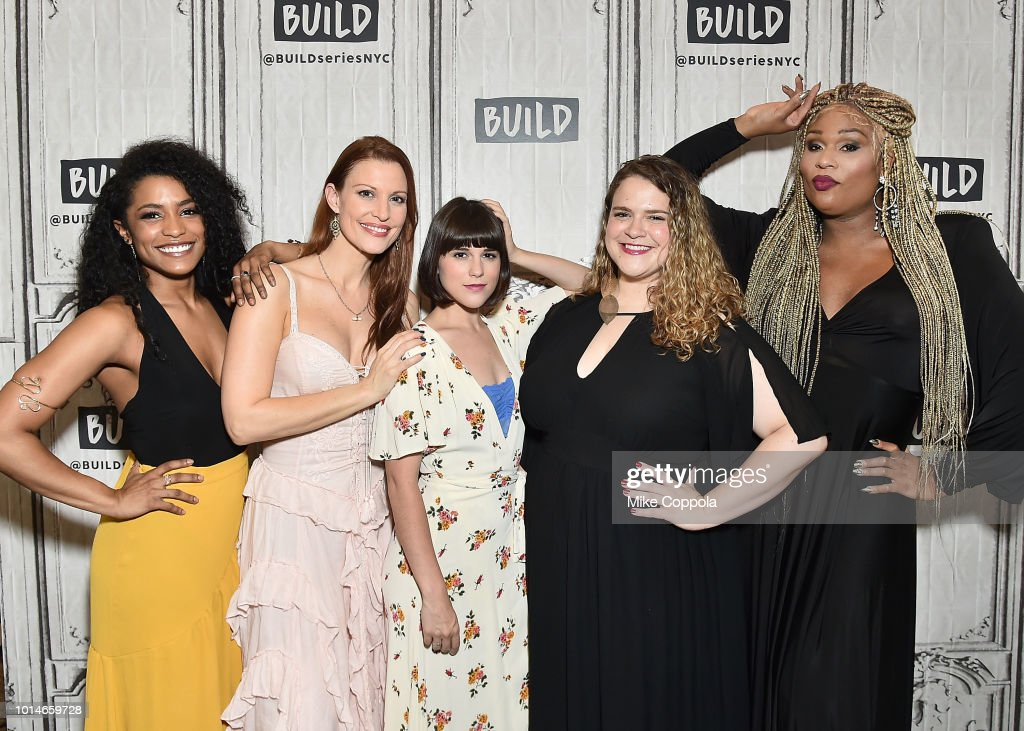 Actors Taylor Iman Jones, Rachel York, Alexandra Socha, Bonnie Milligan, and Peppermint from the cast of Head Over Heels visit Build Studio on August 10, 2018 in New York City.