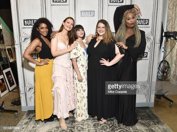 Actors Taylor Iman Jones Rachel York Alexandra Socha Bonnie Milligan and Peppermint from the cast of Head Over Heels visit Build Studio on August 10...