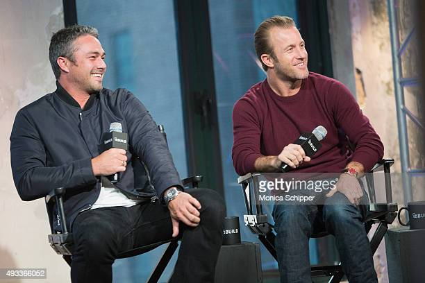 Actors Taylor Kinney and Scott Caan speak at AOL Build Presents 'Rock The Kasbah' at AOL Studios In New York on October 19 2015 in New York City