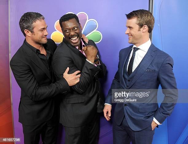 """Actors Taylor Kinney, Eamonn Walker and Jesse Spencer of """"Chicago Fire"""" arrive at day 2 of the NBCUniversal 2015 Press Tour at The Langham Huntington..."""