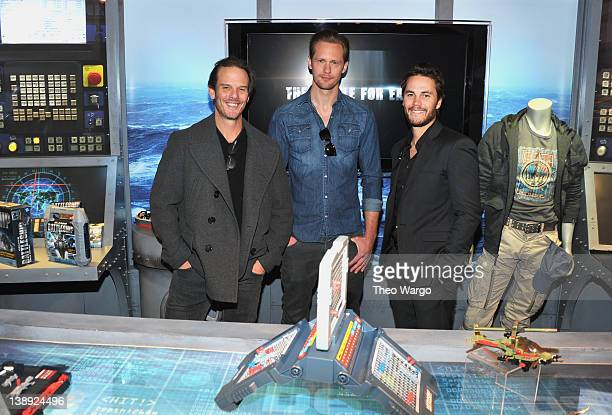 Actors Taylor Kitsch and Alexander Skarsgard along with director Peter Berg of the upcoming Universal Pictures' Battleship movie get a look at the...