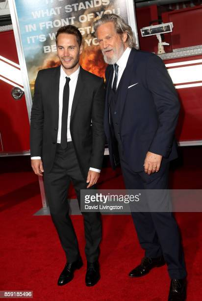 Actors Taylor Kitsch and Jeff Bridges attend the premiere of Columbia Pictures' 'Only the Brave' at Regency Village Theatre on October 8 2017 in...