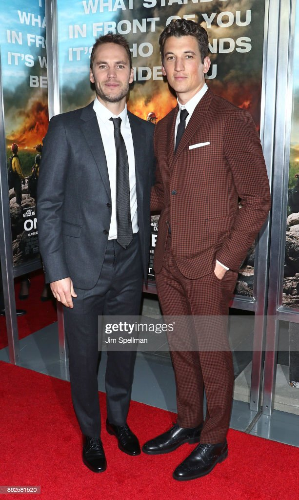 Actors Taylor Kitsch (L) and Miles Teller attend the 'Only The Brave' New York screening at iPic Theater on October 17, 2017 in New York City.