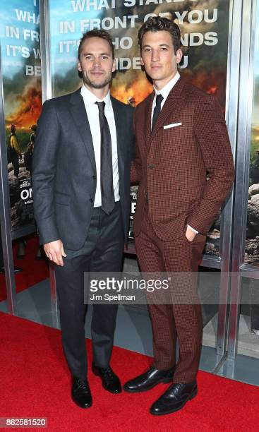 Actors Taylor Kitsch and Miles Teller attend the 'Only The Brave' New York screening at iPic Theater on October 17 2017 in New York City