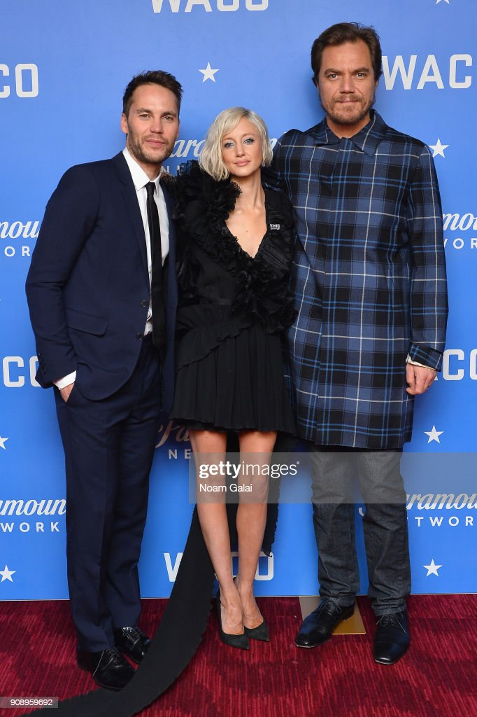 Actors Taylor Kitsch, Andrea Riseborough, and Michael Shannon, attend the world premiere of WACO presented by Paramount Network at Jazz at Lincoln Center on January 22, 2018 in New York City.