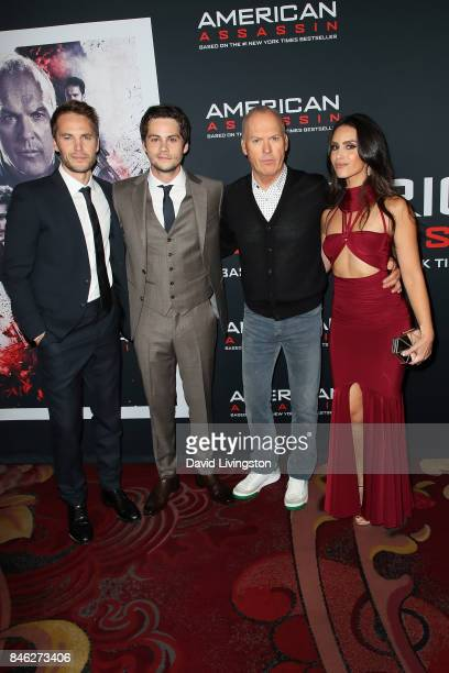 Actors Taylor Kitsch Dylan O'Brien Michael Keaton and Shiva Negar attend a Screening of CBS Films and Lionsgate's 'American Assassin' at TCL Chinese...
