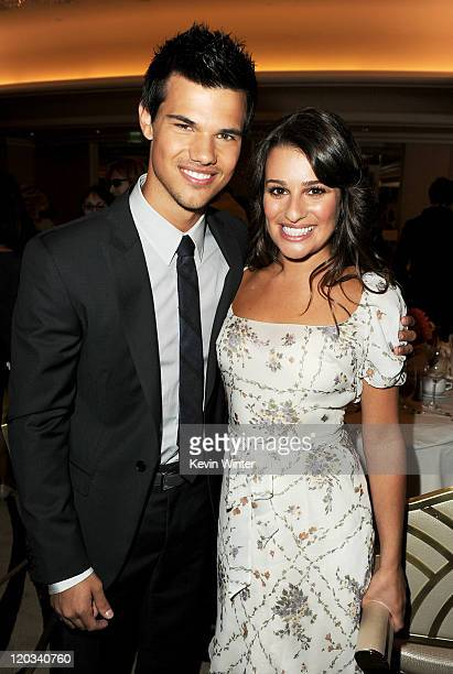 Actors Taylor Lautner and Lea Michele attend The Hollywood Foreign Press Association's 2011 Installation Luncheon at Beverly Hills Hotel on August 4...