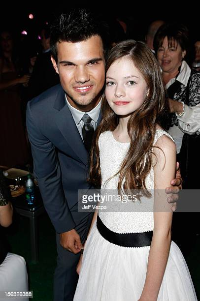 Actors Taylor Lautner and Mackenzie Foy attend The Twilight Saga Breaking Dawn Part 2 after party at Nokia Theatre LA Live on November 12 2012 in Los...
