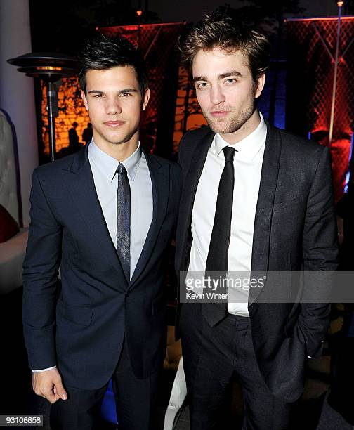 Actors Taylor Lautner and Robert Pattinson arrive at the afterparty for the premiere of Summit Entertainment's The Twilight Saga New Moon at the...