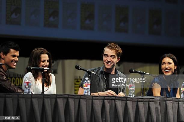 Actors Taylor Lautner Kristen Stewart Robert Pattinson and Julia Jones speak at The Twilight Saga Breaking Dawn Part 1 Panel during ComicCon 2011 on...