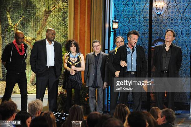 Actors Taylor Negron Forest Whitaker director Amy Heckerling actors Brian Backer Robert Romanus Sean Penn and Judge Reinhold accept an award onstage...