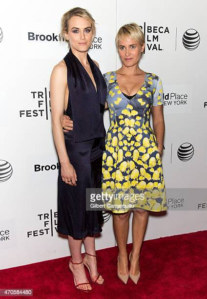 Actors Taylor Schilling and Judith Godreche attend the premiere of 'The Overnight' during the 2015 Tribeca Film Festival at BMCC Tribeca PAC on April...