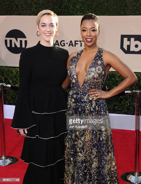 Actors Taylor Schilling and Samira Wiley attend the 24th Annual Screen ActorsGuild Awards at The Shrine Auditorium on January 21 2018 in Los Angeles...