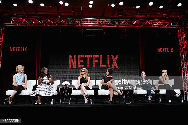 Actors Taylor Schilling Uzo Aduba Natasha Lyonne Selenis Leyva Lea DeLaria and Taryn Manning speak onstage during the Orange Is the New Black panel...