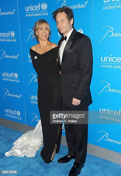 Actors Tea Leoni and David Duchovny attend the 2009 UNICEF Snowflake Ball at Cipriani 42nd Street on December 2 2009 in New York City