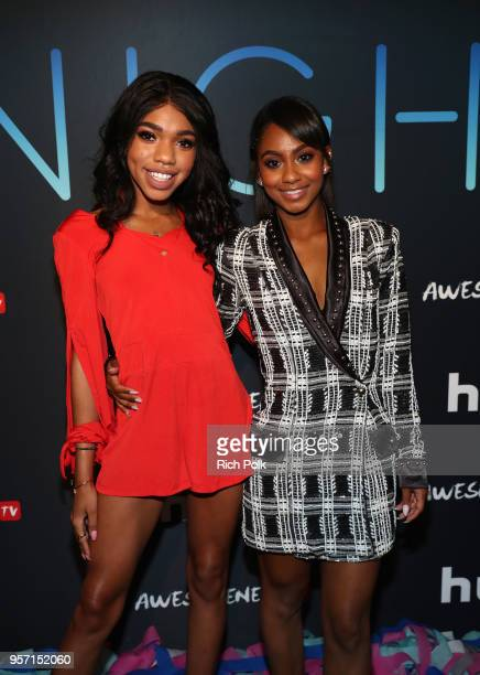 Actors Teala Dunn and Tetona Jackson attend the premiere of AwesomenessTV and Hulu's new show All Night at Awesomeness HQ on May 10 2018 in Los...