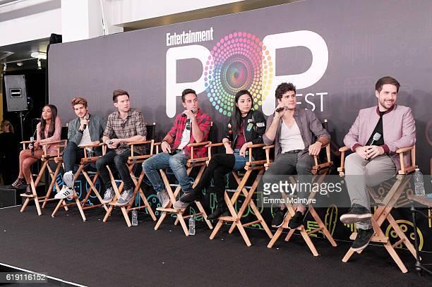 Actors Teala Dunn Joey Graceffa Ricky Dillon Sawyer Hartman Anna Akana Anthony Padilla and Ian Hecox speak onstage at Entertainment Weekly's PopFest...