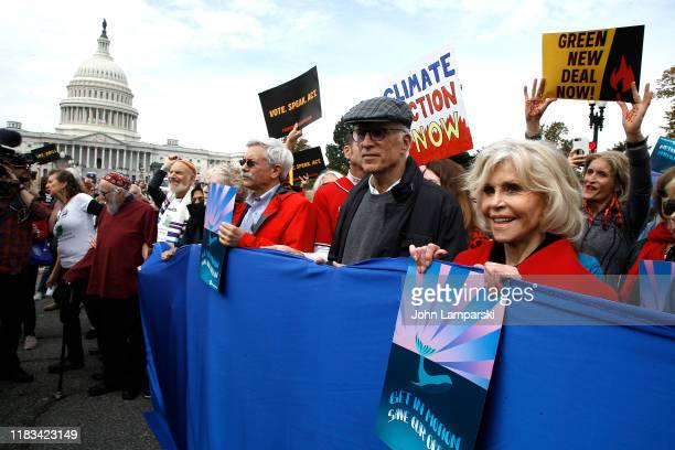 Actors Ted Danson and Jane Fonda demonstrate during Fire Drill Friday Climate Change Protest on October 25 2019 in Washington DC Protesters demand...