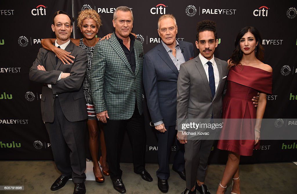 Actors Ted Raimi, Michelle Hurd, Bruce Campbell, Lee Majors, Ray Santiago, and Dana DeLorenzo arrive at The Paley Center for Media's 10th Annual PaleyFest Fall TV Previews honoring STARZ's Ash vs. Evil Dead at the Paley Center for Media on September 14, 2016 in Beverly Hills, California.