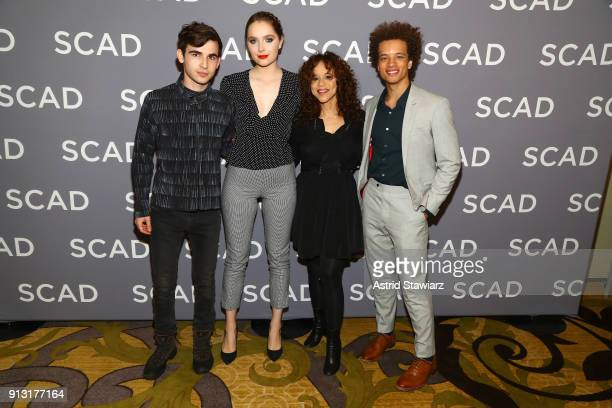 Actors Ted Sutherland Amy Forsyth Rosie Perez and Damon J Gillespie attend a press junket for 'Rise' on Day 1 of the SCAD aTVfest 2018 on February 1...