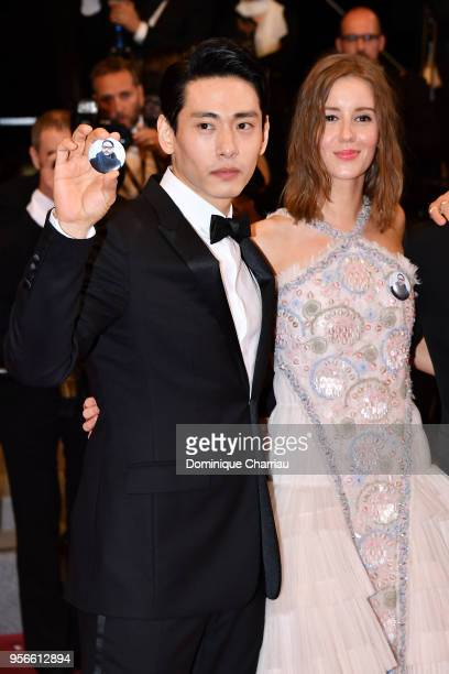 Actors Teo Yoo and Irina Starshenbaum attend the screening of Leto during the 71st annual Cannes Film Festival at Palais des Festivals on May 9 2018...