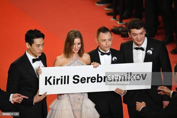 Actors Teo Yoo Irina Starshenbaum Roman Bilyk and producer CharlesEvrard Tchekhoff with a sign to free Director Kirill Serebrennikov as they attend...