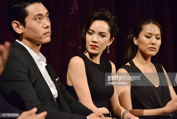 Actors Teo Yoo Jessika Van and Rosalina Leigh speak onstage at the Seoul Searching screening during the 2015 Los Angeles Film Festival at Regal...
