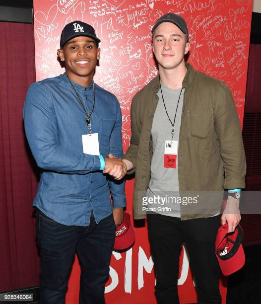 Actors Terayle Hill and Drew Starkey attend Love Simon Atlanta Fan Screening and QA at Regal Atlantic Station on March 6 2018 in Atlanta Georgia