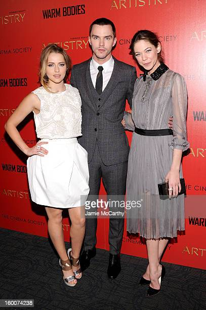 Actors Teresa Palmer Nicholas Hoult and Analeigh Tipton attend a screening of 'Warm Bodies' hosted by The Cinema Society at Landmark's Sunshine...