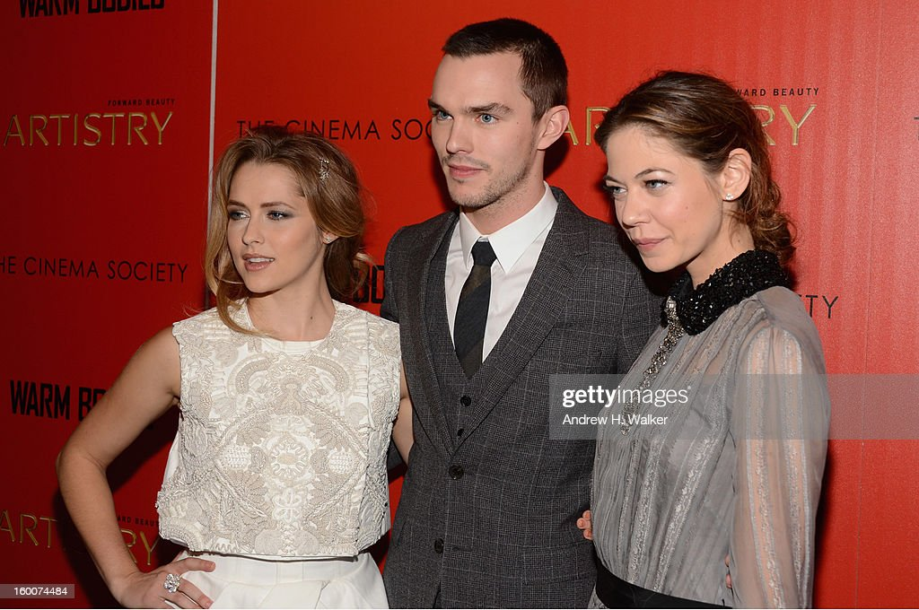 Actors Teresa Palmer, Nicholas Hoult and Analeigh Tipton attend a screening of 'Warm Bodies' hosted by The Cinema Society at Landmark's Sunshine Cinema on January 25, 2013 in New York City.
