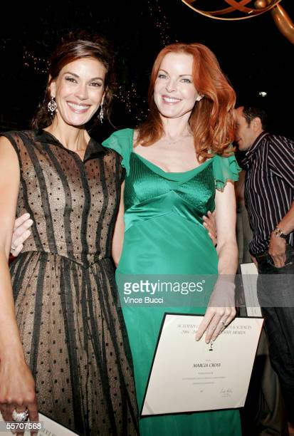 Actors Teri Hatcher and Marcia Cross attend the Academy of Television Arts and Sciences' reception for Emmy Award nominees for outstanding performing...