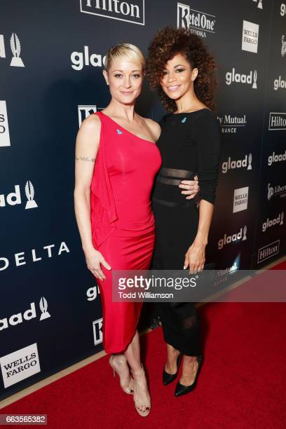 Actors Teri Polo and Sherri Saum attend the 28th Annual GLAAD Media Awards in LA at The Beverly Hilton Hotel on April 1 2017 in Beverly Hills...