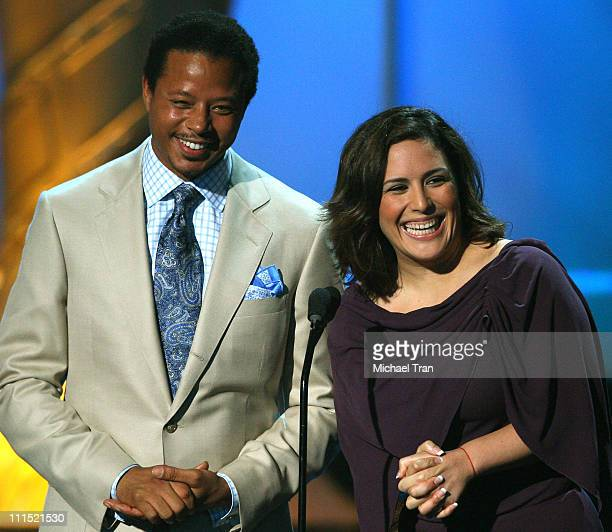 Actors Terrence Howard and Angelica Vale onstage during the 2008 ALMA Awards at the Pasadena Civic Auditorium on August 17 2008 in Pasadena California