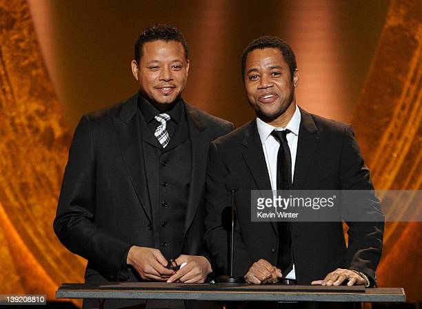 Actors Terrence Howard and Cuba Gooding Jr. Speak onstage at the 43rd NAACP Image Awards held at The Shrine Auditorium on February 17, 2012 in Los...