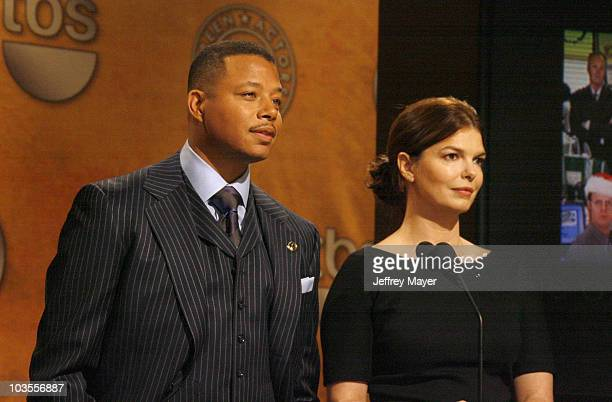 Actors Terrence Howard and Jeanne Tripplehorn attend the 14th Annual Screen Actors Guild Awards Nominations at the Pacific Design Center's...