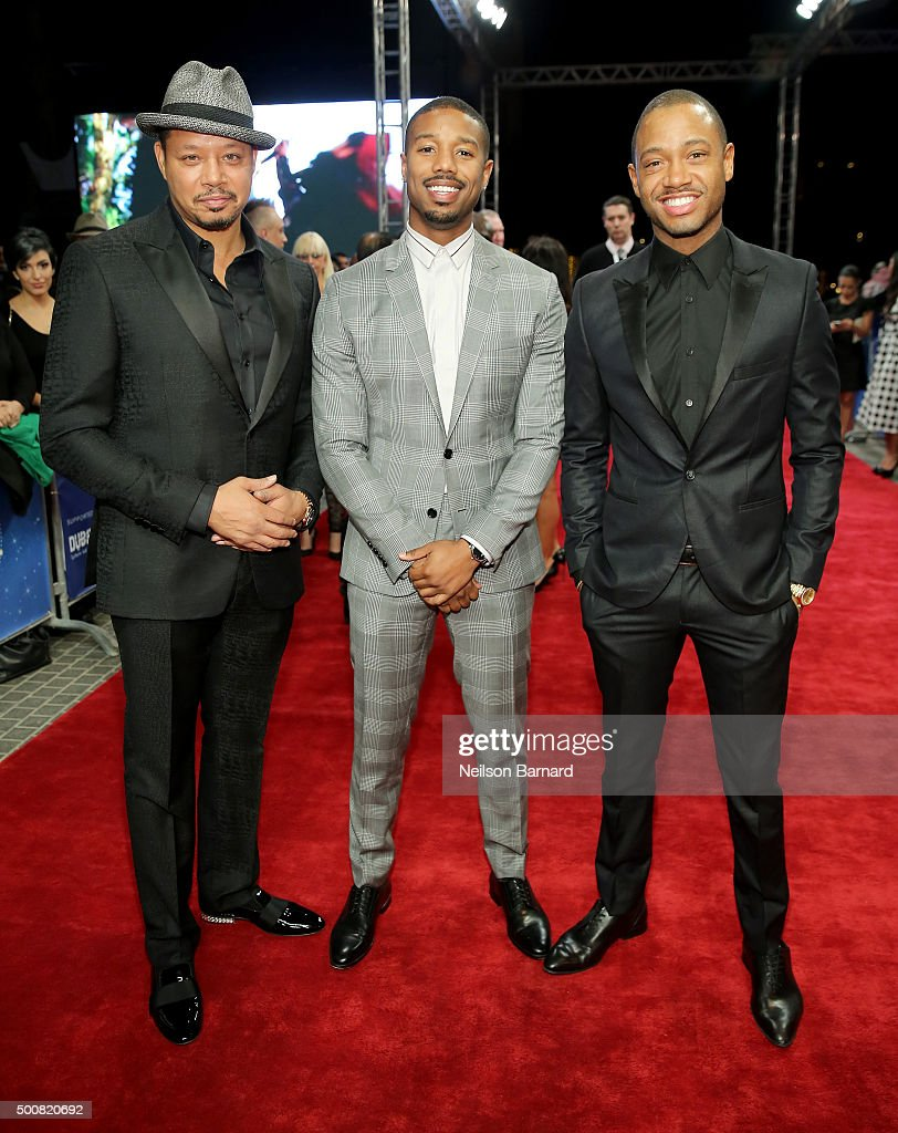 Actors (L-R) Terrence Howard, Michael B Jordan and Terrence J attend the 'Bilal' premiere during day two of the 12th annual Dubai International Film Festival held at the Madinat Jumeriah Complex on December 10, 2015 in Dubai, United Arab Emirates.